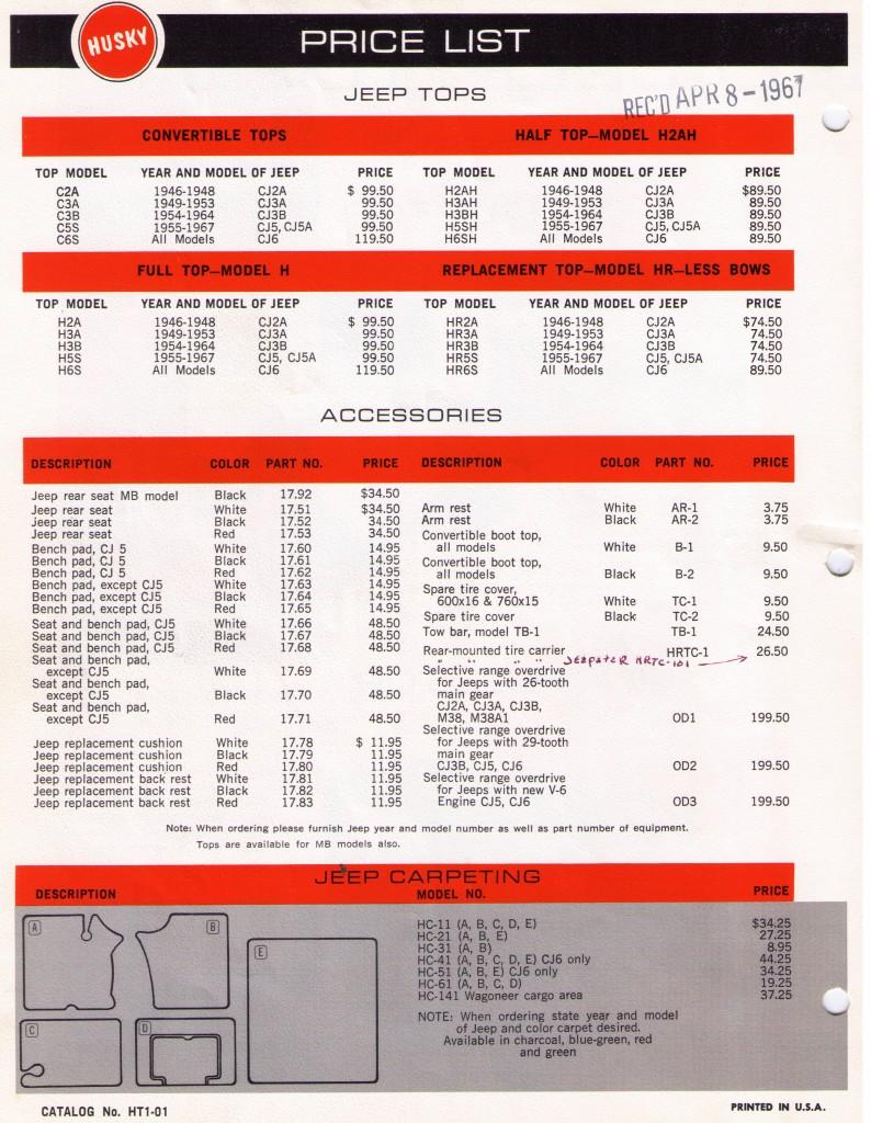 Husky_TopAndAccessories_Price_List_1968